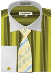 ID#MK777 Daniel Ellissa Basic Two Tone French Cuff Dress Cheap Fashion Clearance Shirt Sale Online For Men Combo Sage