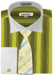 ID#MK784 Daniel Ellissa Basic Two Tone French Cuff Dress Cheap Fashion Clearance Shirt Sale Online For Men Combo Sage