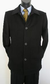 color black Overcoat Mens