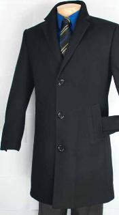 ID#NK2892 Mens Car Coat - Mid length Wool Coat Collection in a Soft Cashmere Blend - Dark color black Overcoat