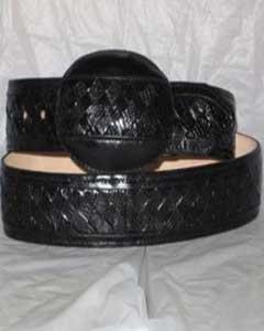 ID#JR37W Genuine Dark color black Weave Lizard skin Teju western  Belt