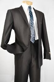 ID#MW7802 Dark Black Wedding / Prom  Two buttons Inexpensive ~ Cheap ~ Discounted Clearance Sale Extra Slim Fit Prom Suit