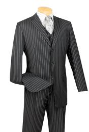 3 Piece Suits Pronounce visible Chalk Pinstripe Dark color black Vested kids suits avail