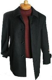 ID#WE3532 3 Quarter Dark color black Wool fabric Jacket Overcoat