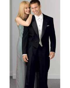 ID#UZ704 Wool fabric Peak Tuxedo Tailcoat Dark color black