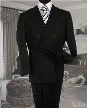 ID#GC3434 Dark color black Suit With Smooth Stripe ~ Pinstripe Full Canvanced Man Made Fiber~Rayon W