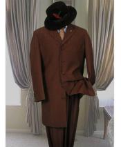 ID#DB24042 Dark Brown  5 Button Long Zoot Suit
