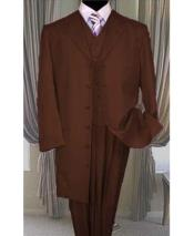 ID#DB24041 Button Closure Dark Brown Vested Long Zoot 3 ~ Three Piece Cheap Discounted Suit