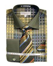 ID#VJ15784 Dark Lime Checker Pattern French Cuff Dress Cheap Fashion Clearance Shirt Sale Online For Men Tie Set