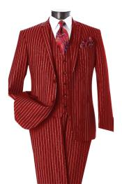 ID#DB22536 Dark Red & White Pinstripe 2 Button Notch Lapel Vested Suit