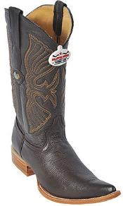 ID#KA8365 Deer Coco Chocolate brown Authentic Los altos Western Boots Western Design Pointy Toe