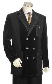 Double Breasted Fashion Denim Cotton Fabric Trimmed Two Tone Sportcoat Jacket /Suit / Prom ~ Grey Tuxedo