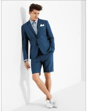Button Denim Blue Suit