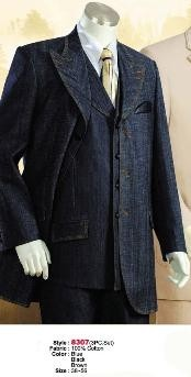 ID#MU1122 Denim Cotton Fabric Suit Style comes in Blue or Dark color black or Coco Chocolate brown