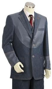 ID#KZ0332 Two buttons 3pc Fashion Denim Cotton Fabric Cotton Fabric Trimmed Two Tone Sportcoat Jacket