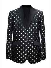 ID#DB24623 2 Button Dot Designed Black ~ White Sport Coat Blazer ~ Suit Jacket
