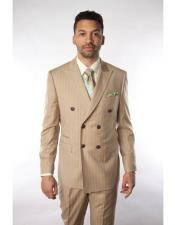 ID#VJ15743 100% Wool Super 150'S Beige ~ Tan ~ Sand Pinstripe Double Breasted Suit