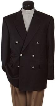 ID# APD183 Z762TA Dark color black Six Button Double Breasted Perforce Sportcoat Jacket Coat
