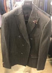Breasted Black Pinstripe Blazer