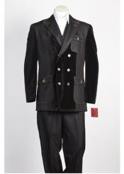 ID#NM500 Mens Double Breasted Black Suit