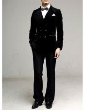 ID#DB19174 Double Breasted Black Wedding / Prom 100% Premium Cotton Velvet Suit