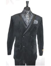 ID#DB22488 Double Breasted Black Velvet Button Closure Peak Lapel Suit