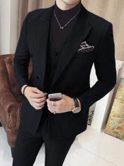 ID#DB16453 Double Breasted 3 Piece Vested Suits Black