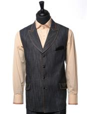 ID#KO18033 Double Breasted Black Denim Vegan Leather Fully Lined Vest And Walking Suit