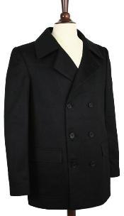 ID#AK COAT08 Wool fabric Pea Coat Wool fabric Blend Double Breasted Broad Lapels Side Pocket in 3 Color