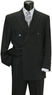 Double Breasted Black Wool Suit