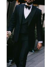 ID#DB22204 Black Peak Lapel Super 150s Wool Tuxedo With Double Breasted Vest Flat Front Pants 1 Button Style