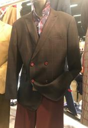 Breasted Peak Lapel Brown
