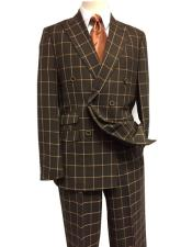 ID#DB22868 Peak Lapel Double Breasted Brown Suit With Flat Front Pants
