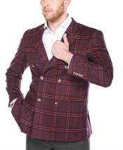 Double Breasted Windowpane Plaid