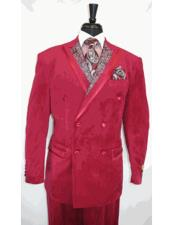 ID#DB22486 Paisley Double Breasted Wedding Burgundy Prom Peak Lapel Velvet Suit