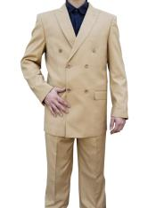 ID#DB23819 Camel ~ Khaki ~ Tan ~ Bronz Double Breasted Button Closure Suit