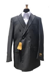 ID#KO18678 Charcoal Alberto Nardoni Wool Pick Stitched Lapel Double Breasted Blazer Sport Coat Jacket