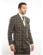 ID#DB22459 Double Breasted Peak Lapel Dark Green Striped Pattern Suit