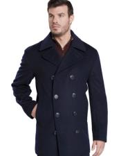 Breasted Dark Navy Overcoat