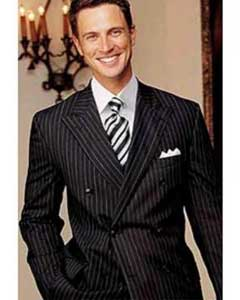 ID# DBW89 Brand New Superior fabric Wool fabric Dark color black Pinstripe Double Breasted Our Price