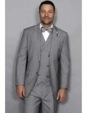 ID#DB15577 3Piece Italian Style Double Breasted Vest Grey Statement Suit
