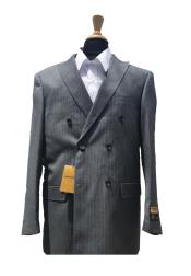 ID#KO18680 Alberto Nardoni Wool Pick Stitched Lapel Double Breasted Grey Blazer Sport Coat Jacket