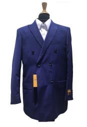 ID#KO18681 Alberto Nardoni Wool Pick Stitched Lapel Double Breasted Blazer Sport Coat Jacket Indigo~Cobalt Blue~Teal