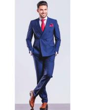 ID#DB19523 Double Breasted Royal ~ Bright Blue Indigo ~ Cobalt New Light Blue Perfect for wedding Suit