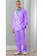 ID#VJ15731 Linen Double Breasted Blazer Jacket Lavender Suit With Pants