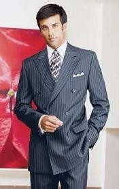 ID#Ber_28 navy blue colored Pinstripe Double breasted Suits