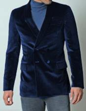 Mens Double Breasted Navy Blue Casual Dinner Tuxedo Jacket