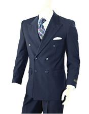 ID#DB20213 Double Breasted Two-piece Classic Fit Navy Peak Lapel Suit