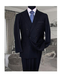 ID#TY56 TS-32 Signature Platinum Stays Cool Inexpensive - Cheap - Discounted Reduced Price NAVY  Shadow Ton on Ton Stripe Mini Pinstripe Conservative Superior fabric 150'S  DOUBLE BREASTED SUIT
