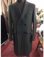 ID#NM14160 Men's Wool Double Breasted 6 Buttons Long Dark Olive Overcoat | Winter Mens Topcoat Sale